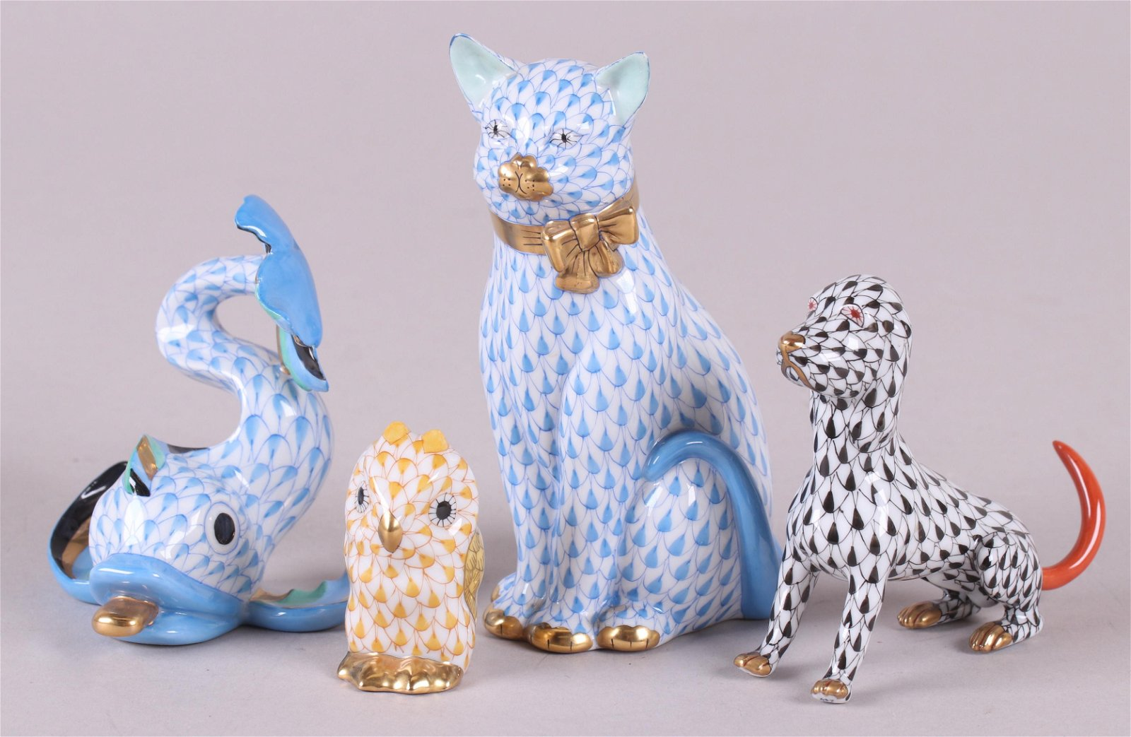 Four Herend Fishnet Animals