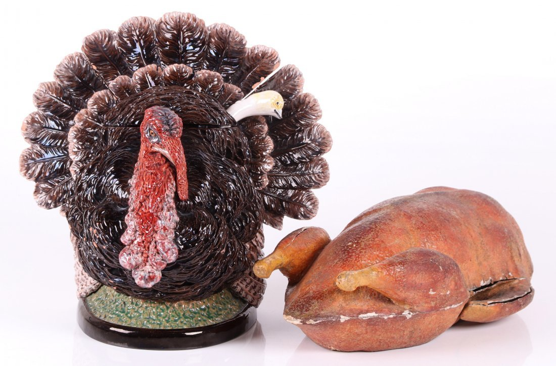 Majolica Turkey Tureen and a German Candy Container