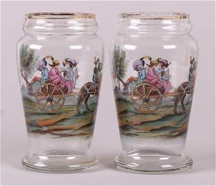 A Pair of Hand Painted Bohemian Glass Vases
