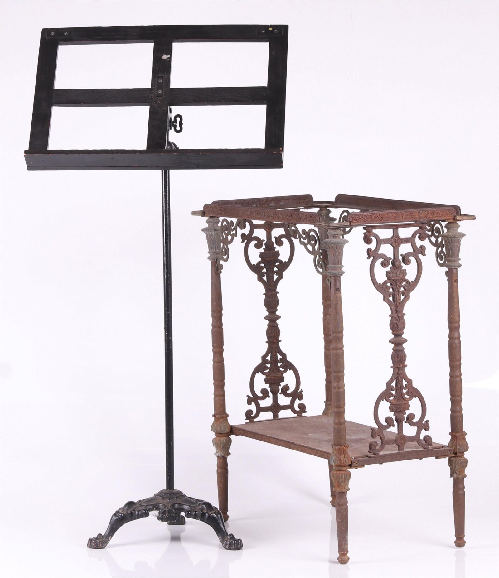 Two Cast Iron Items, Music Stand and Stand
