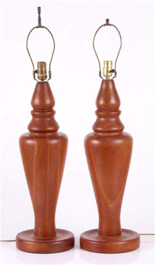 A Pair of Large Turned Wooden Lamps