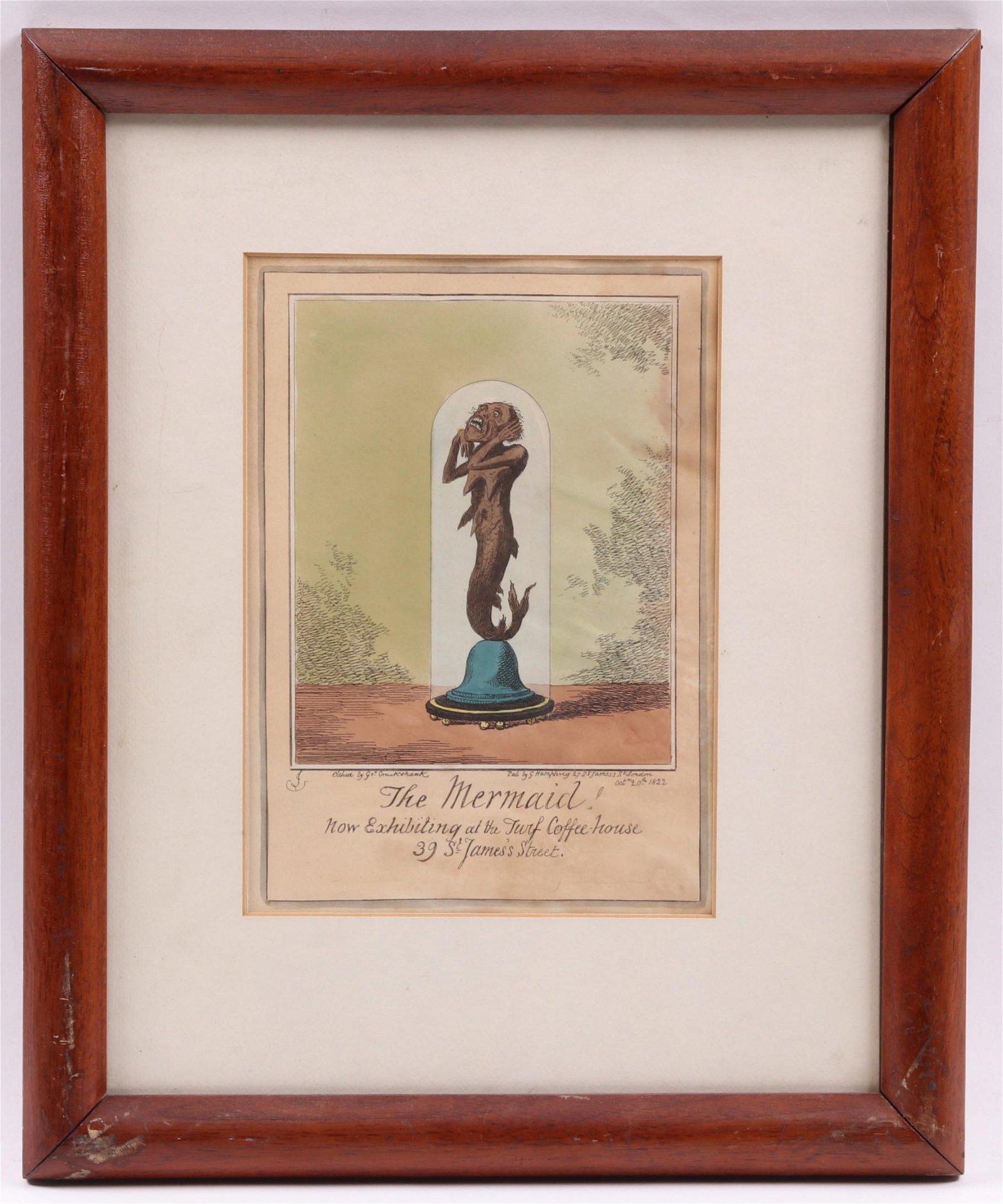 """George Cruikshank, """"The Mermaid"""" Colored Print"""