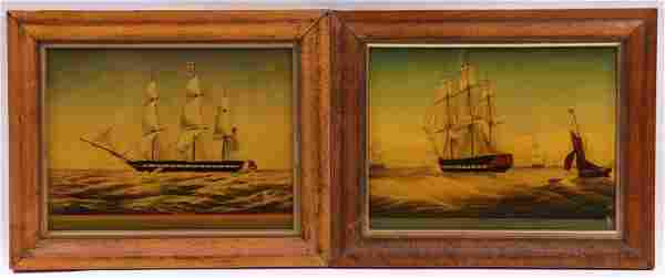A Pair of Paintings of Ships on Glass