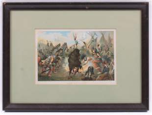 19th Century Print, Sioux War Dance