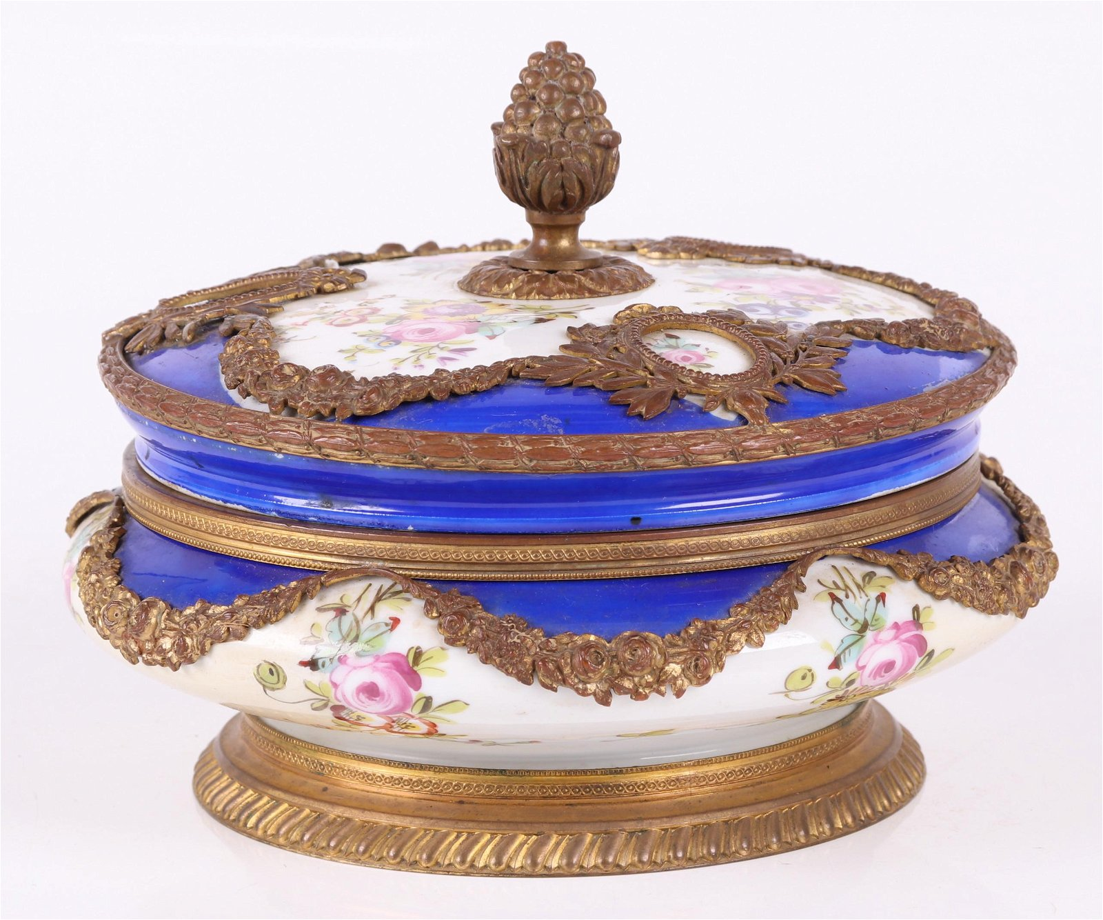 An Ormolu Mounted Sevres Type Covered Bowl