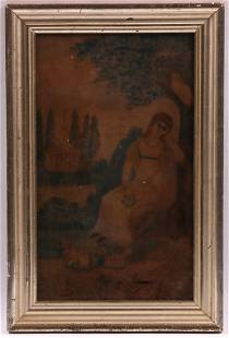 19th Century Watercolor on Velvet