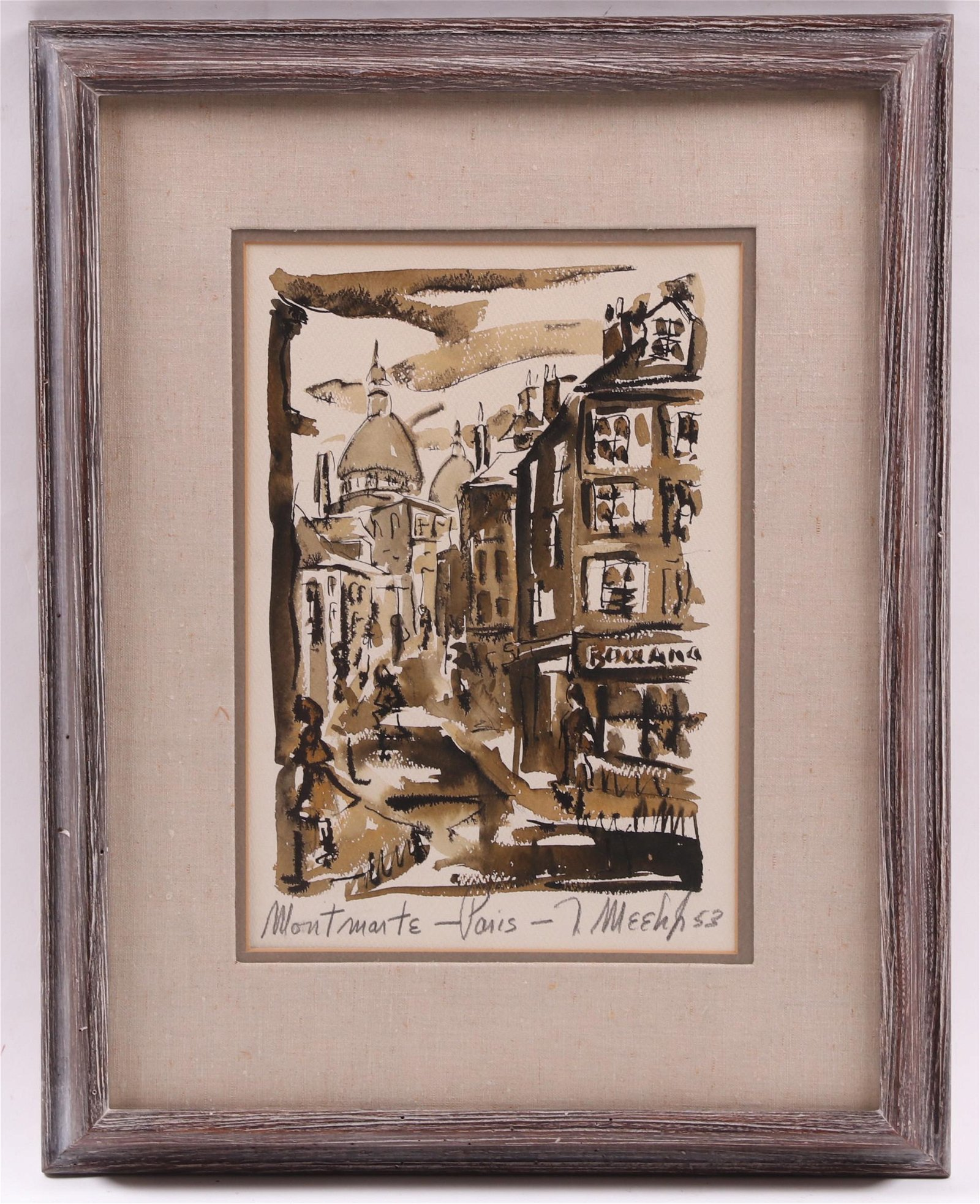Watercolor, View of Monmarte, 1953