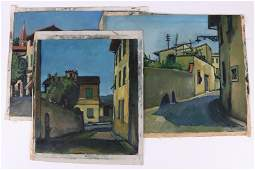 American School Oil on Canvas Three Works