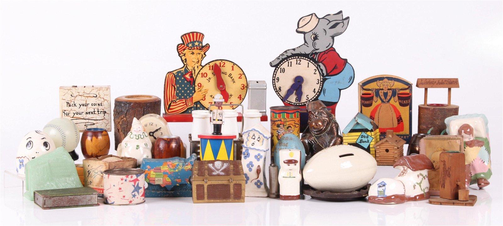 Group of Collectible Toy Banks, Souvenir, Etc...