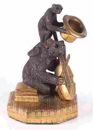 A Bronze Figural Group Monkey and Bear
