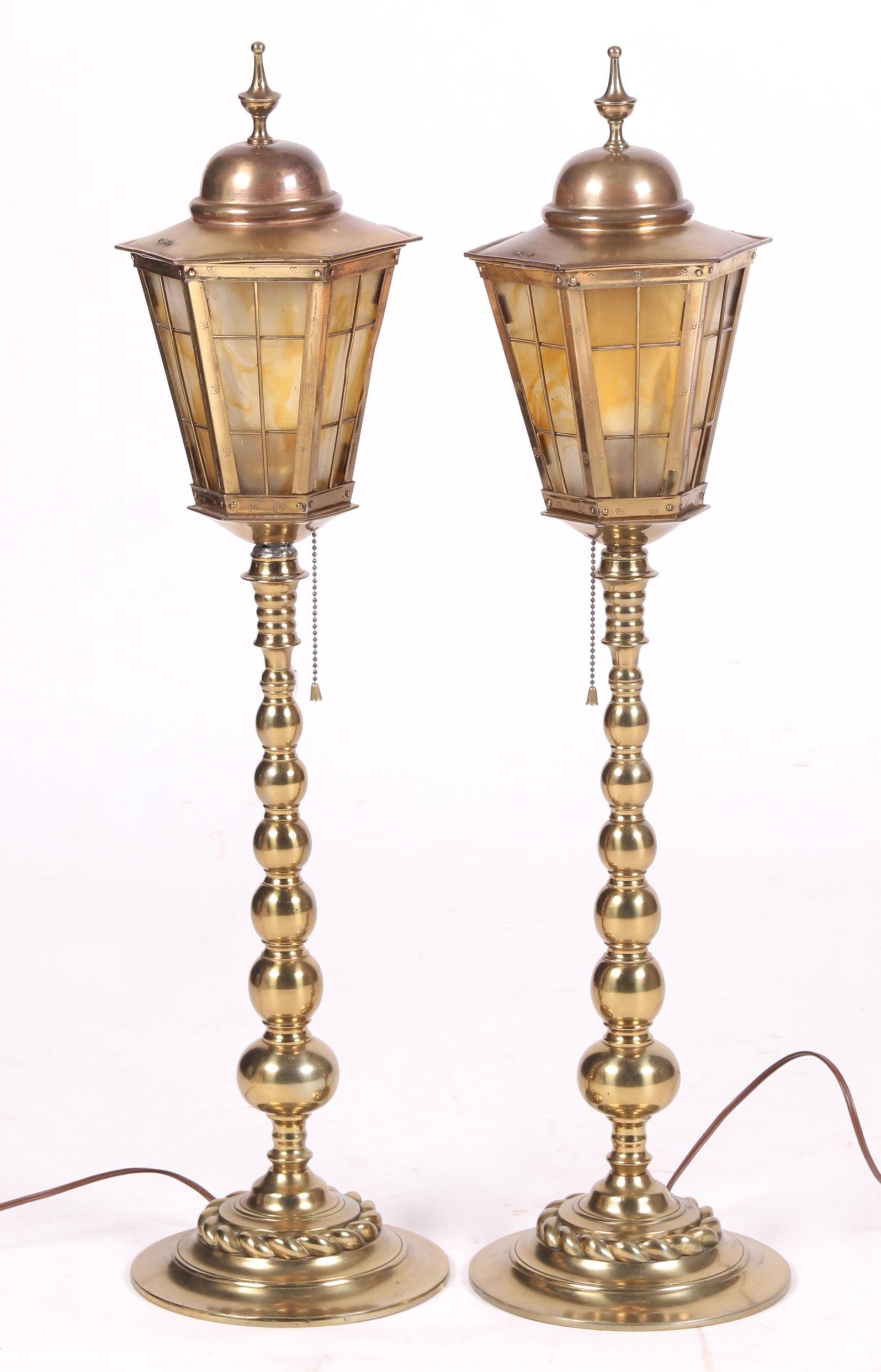 A Pair of Lantern Form Lamps