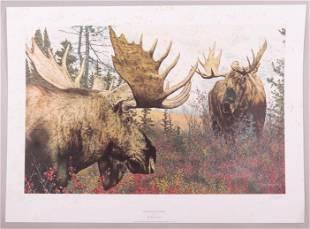 Brian Jarvi Born 1956 Lithograph Moose