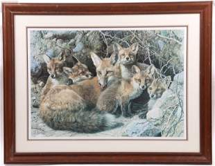 Carl Brenders Born 1937 Lithograph Foxes