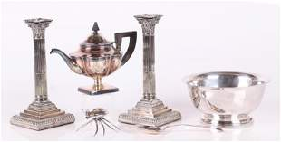 A Group of Estate Silver Plate Candlesticks Etc