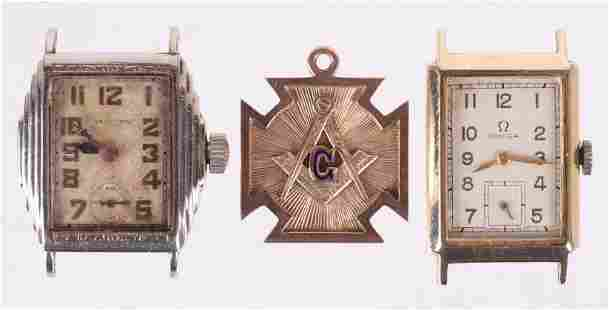 Two Gold Wrist Watches and a Masonic Pendant