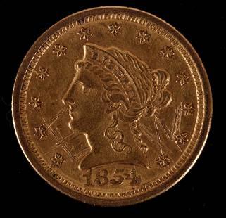 1854 O Gold 2 1/2 Dollar Coin