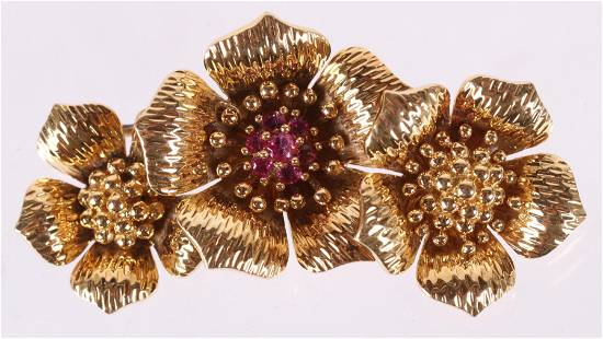 A 18k Gold Floral Pin, Tiffany and Company