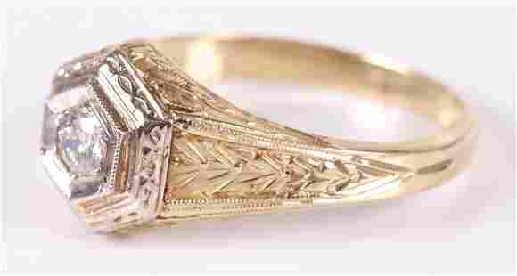 A Gold Filigree and Diamond Ring