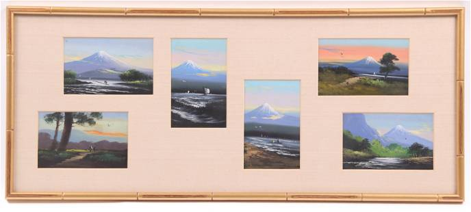 A Framed group of 6 Japanese Postcards