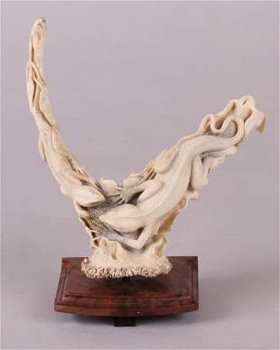 A Fine Stag Horn Carving, Lizards