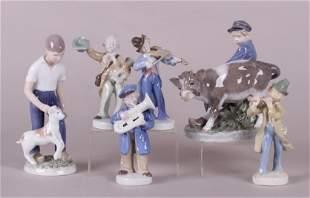 Six Porcelain Figures German and Royal Copenhagen