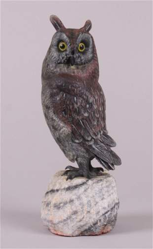 A Large Vienna Cold Painted Bronze Owl