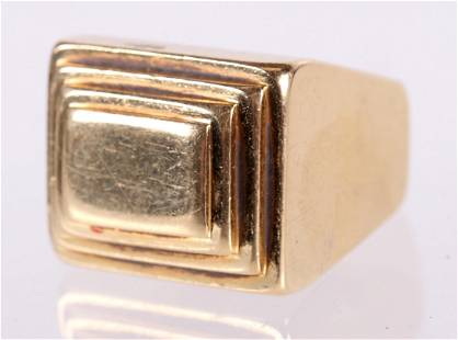 A Heavy 14k Gold Modernist Ring