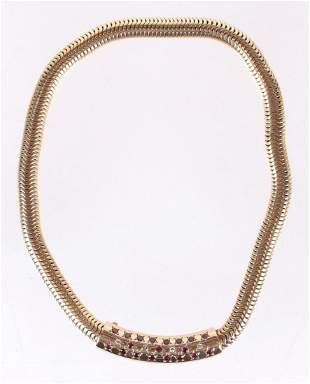 A 14k Gold, Diamond and Ruby Necklace