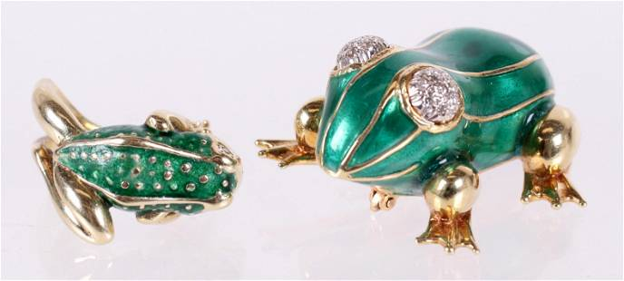 Two Pieces of Gold Frog Themed Jewelry