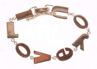A 14k Gold LOVE YOU Bracelet