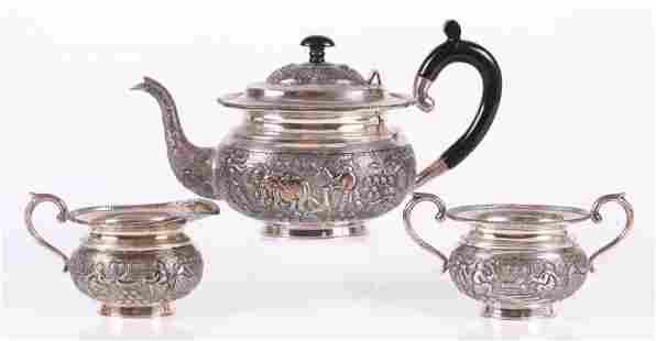 Three Piece Sterling Indian Tea Set