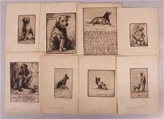 Bernhardt Wall 1872  1956 8 Etchings Dogs Etc