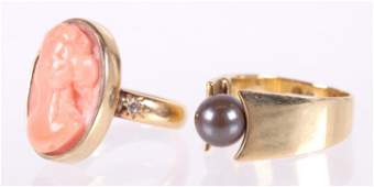 Two Gold Rings Black Pearl and Coral