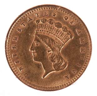 An American One Dollar Gold 1856 Coin