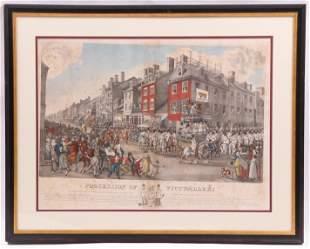 After Krimmel, 1821 Print, Philadelphia Interest