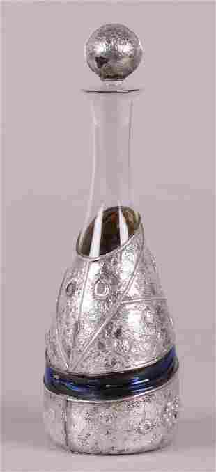 An Art Glass Silver Overlay Decanter