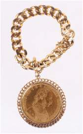 An Austrian Four Ducat Coin With 14k Bracelet