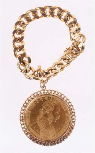 An Austrian Four Ducat Coin With 14k Bracelet