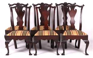 A Set of Queen Anne Style Walnut Side Chairs