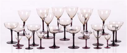 A Set of Crystal Stemware, Colored