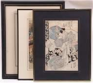 Three Japanese Woodblock Prints, Kunisada, Etc...