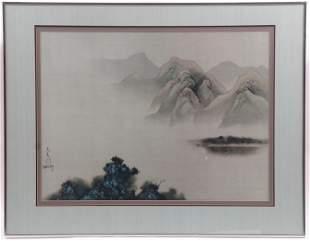 David Lee (Born 1944) Watercolor on Silk