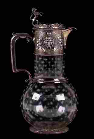 A Sterling and Crystal Ewer, London 1877