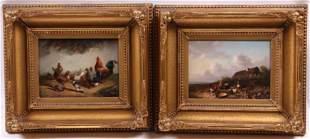 Cornelis van Leemputten (1841 - 1902) O/B, Pair