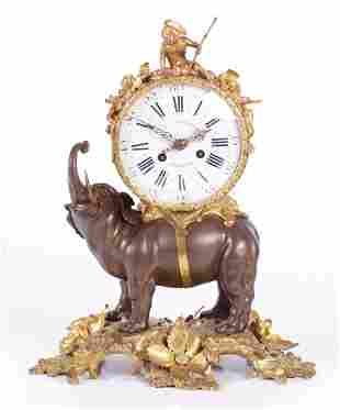 A French Parcel Gilt Bronze Clock