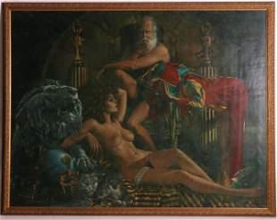 A Monumental Surrealist Work, Oil on Board