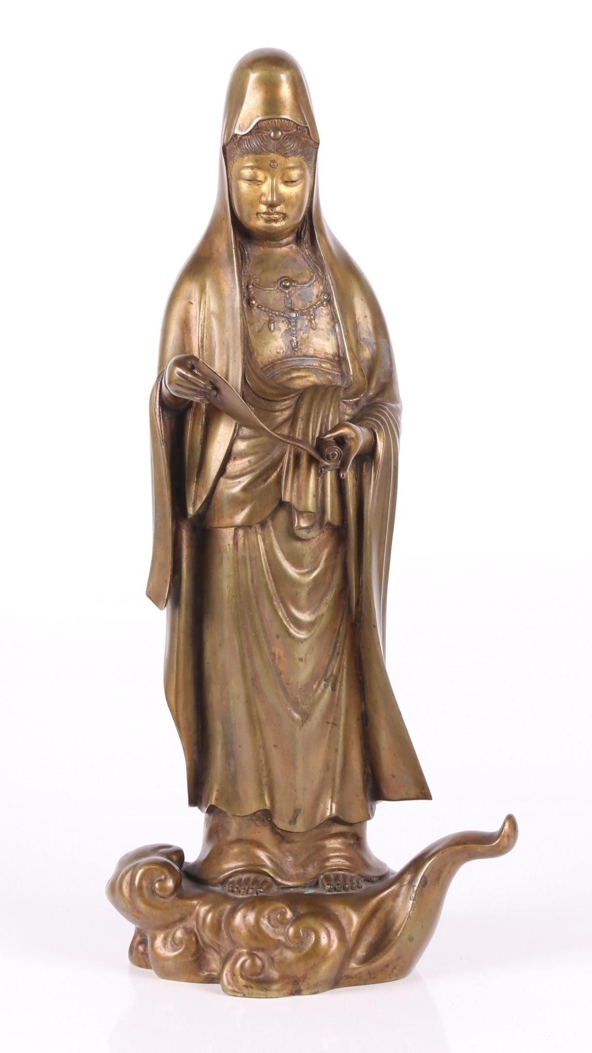 A Large Japanese Bronze Figure of Kannon