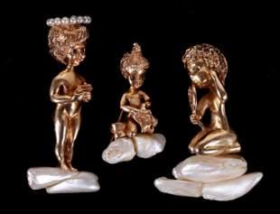 Three William Ruser 14k Gold Pins