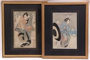 Two Japanese Woodblock Prints by Kunisada