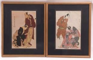 Two Japanese Woodblock Prints, Sharaku